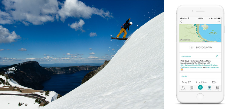 Brian Stenerson Buttering off of Watchman Peak at Crater Lake | Snowledge