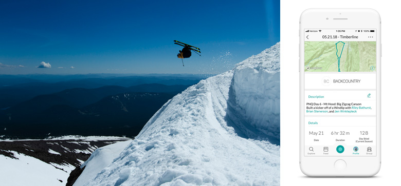 Eric Lee O'Brien with the Flat 3 above Big Zigzag Canyon on Mt. Hood | Snowledge