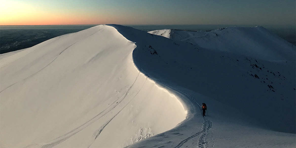 Alex Bowater, putting in extra work in the Canterbury Backcountry