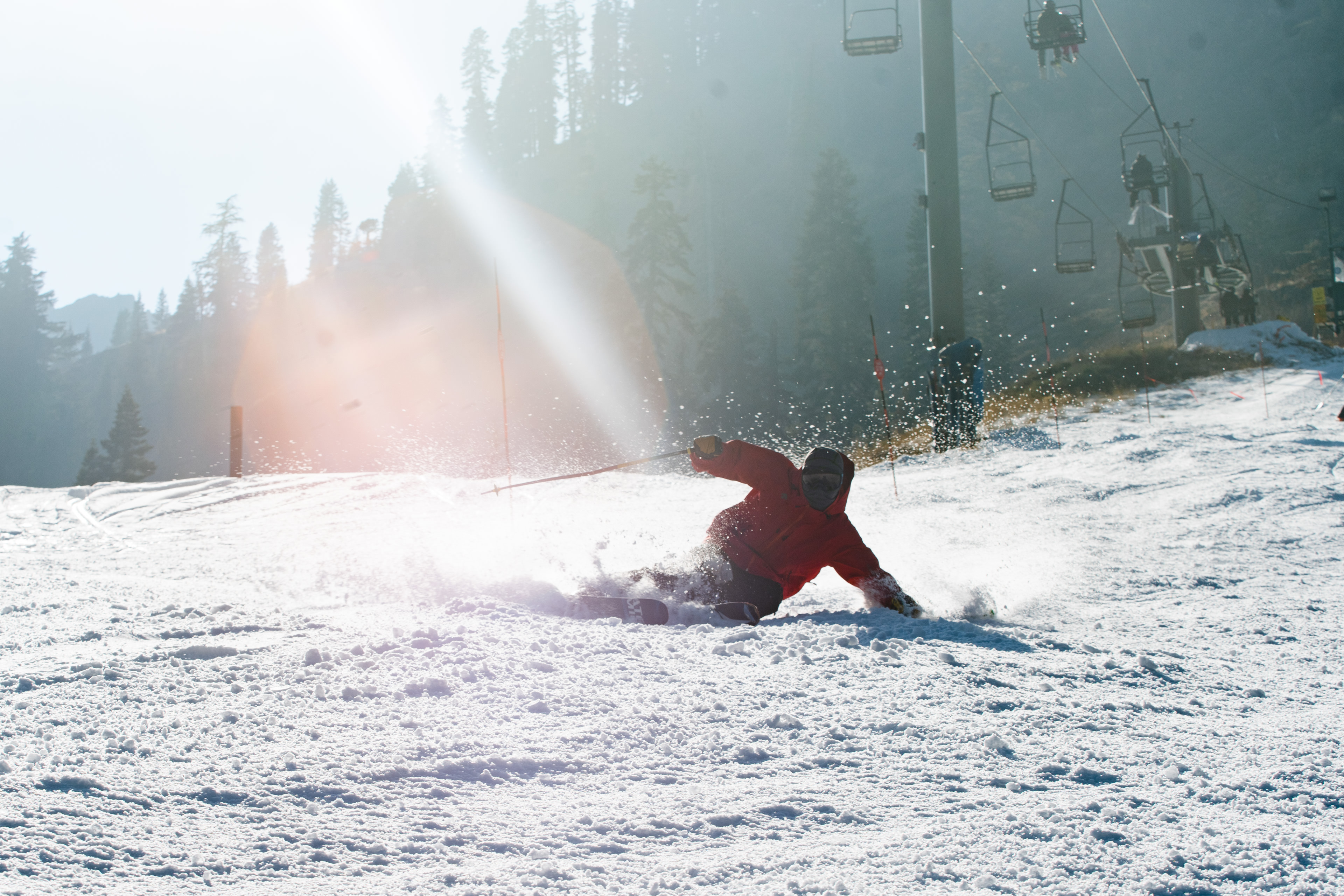 brandon craddock skiing a turn on the groomers at Alpine meadows